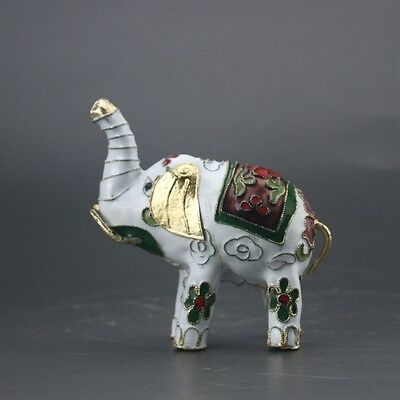 Chinese Cloisonne Handmade Carved Elephant Statue Z261