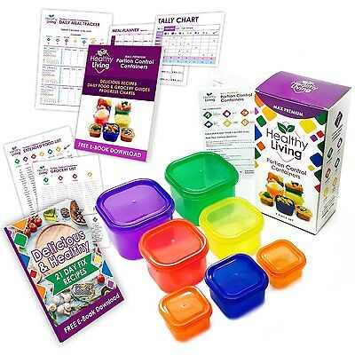 Healthy Living 7 Piece Portion Control Containers Kit with COMPLETE GUIDE