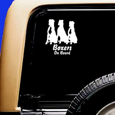 Boxers On Board boxer Trio Dog Natural Cropped Vinyl Car Decal Sticker