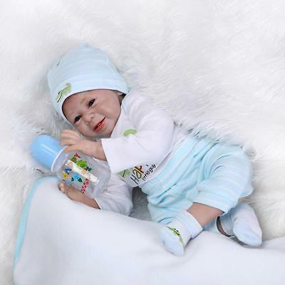 "22"" Reborn Baby Doll Handmade Smile Face Realistic Newborn Doll Gift Muñecas"