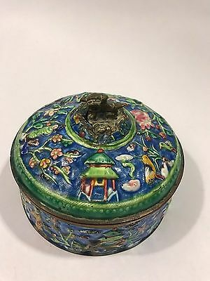 Antique Chinese Cloisonne Box With Lid Large Foo Dog Handle