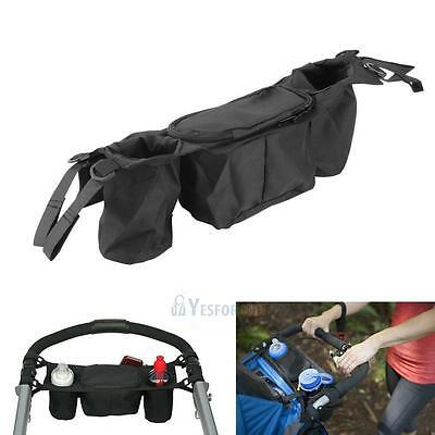 Kids Baby Stroller Safe Console Tray Pram Hanging Black Bag Bottle Cup Holder