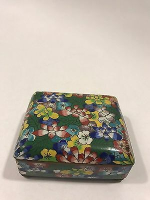 Chinese Bronze Cloisonne Floral Enamel Hinged Box