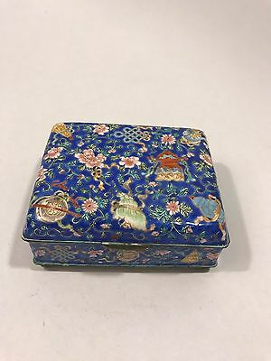 Vintage Chinese Cloisonne Blue Floral Covered Hinge Box