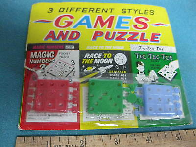 Vintage 1960s 5 & 10 Store Toy, set of 3 Mini- Games on card, New Old Stock