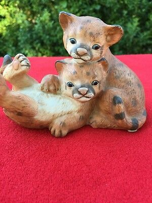 COUGARS Masterpiece Collection HOMCO Curious Cubs Porcelain Figurine ESTATE @