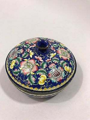 Antique Chinese Cloisonne Enamel Blue Box With Flowers