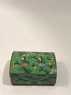Chinese Cloisonne Green Enamel Floral Dome Shape Box