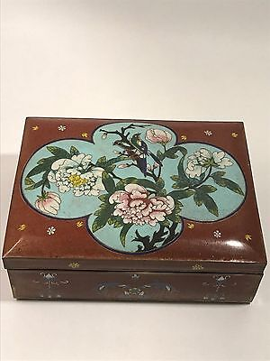 Vintage Old Chinese Enamel Cloisonne Lidded Box With Bird and Flower