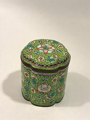 Antique Chinese Cloisonne Enamel Floral Box with Lid