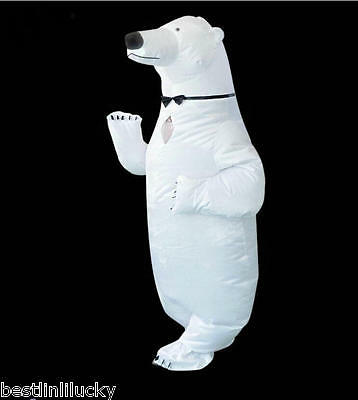 Novelty Toy Women Men Inflatable Polar Bear Costume Funny Suit Blow Up Jumpsuit