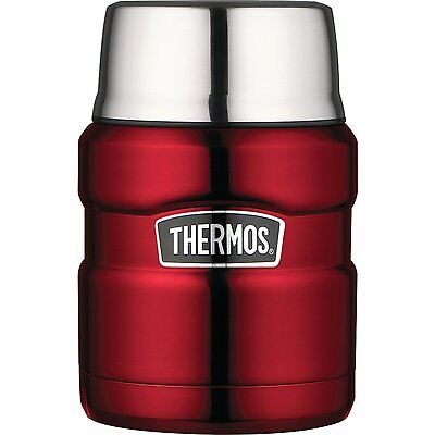 THERMOS Stainless King 16 Ounce Food Jar with Folding Spoon, Cranberry (NEW)