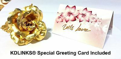 KDLINKS® 24K 6 Inch Gold Foil Rose, Best Valentine's Day Gift, Handcrafted and