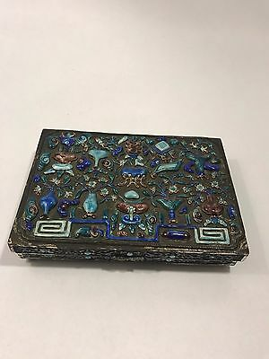 Antique Chinese Cloisonne Enamel Box with Flower and Censer Symbols