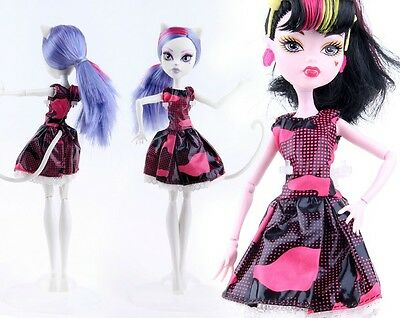 Doll accessories Doll Dress Clothes black dress For monster high school doll s1