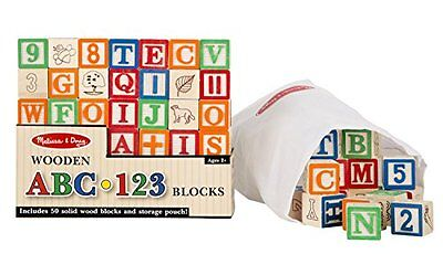 50 Piece Wooden ABC/123 Blocks Set Play Toys Baby Toddler New