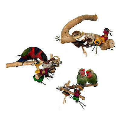 Parrot Bird Perch Java Wood Branch with Toys