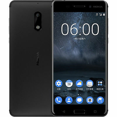 New Nokia 6 Dual SIM Black 64GB Android 7.0 Factory Unlocked 4G LTE Smartphone