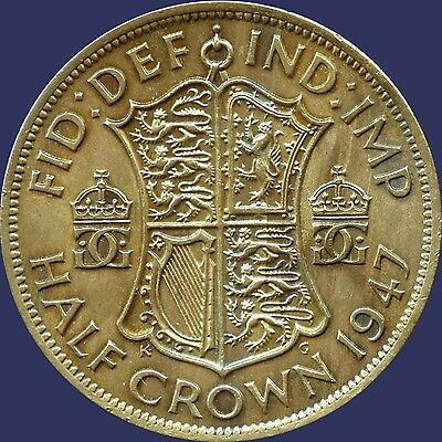 1947 Great Britain 1/2 Crown Coin