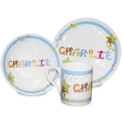 Personalised Animal Name Breakfast Dinner Set Blue 3 Piece Childrens Kids Boys