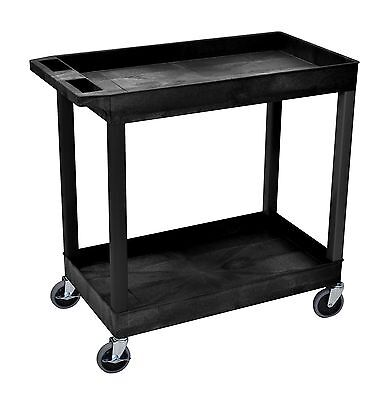 Plastic Utility Cart 2 Tier Shelf Tub Service Rolling on Wheels Swivel Luxor NEW