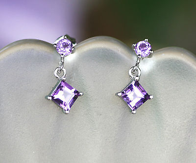 Natural Amethyst Small Drop Dangle Earrings in Solid Sterling Silver from Canada