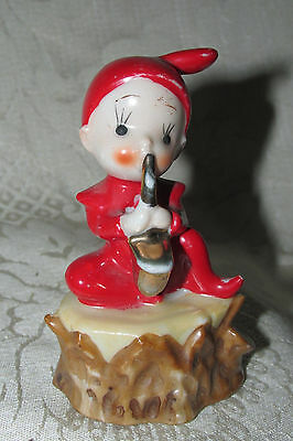 Antique Elf Gnome Pixie Playing Trombone Miniature Figurine No Makers Mark 9CmT