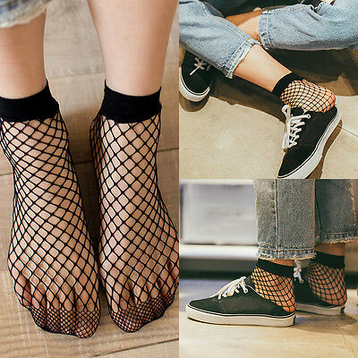 Women Ruffle Fishnet Ankle High Socks Lady Mesh Lace Fish Net Short Socks