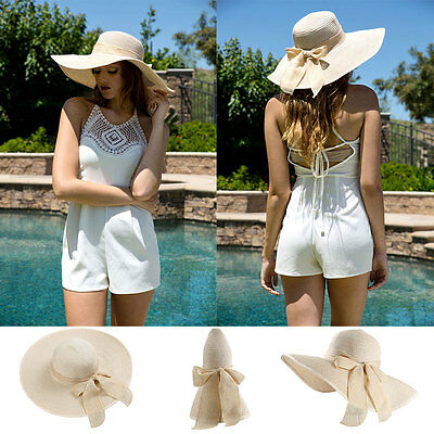 Beige Women Lady Wide Brim Straw Hat Floppy Foldable Summer Beach Sun Cap Visor