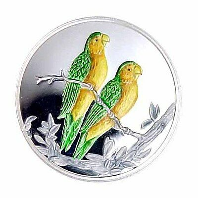1999 Turks & Caicos 20 Crown Caribbean Colored Parakeet AU/Proof
