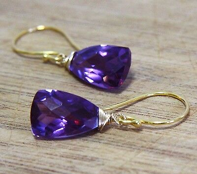 Color Change Alexandrite Briolette Wire Wrapped Earrings 24K Yellow Gold Vermeil