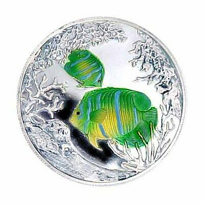 1999 Turks & Caicos 20 Crown Colored Angelfish AU/Proof