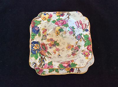 VTG CROWN DUCAL FESTIVAL Chintz BOWL ATTACHED PLATE Multi Color Floral R.N.72944