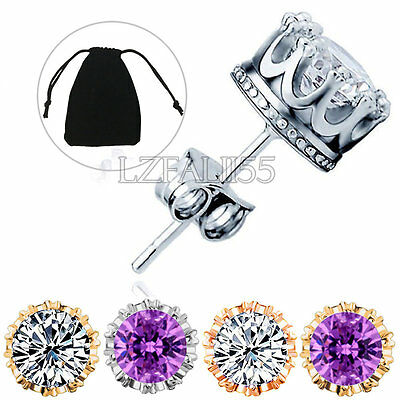925 Sterling Silver CZ 8MM Crown Stud Earrings Round Crystal Cubic Zirconia