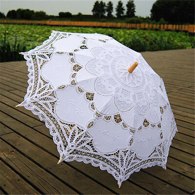 Handmade Parasols Umbrella Cotton Lace Bridal Wedding Party Prom White