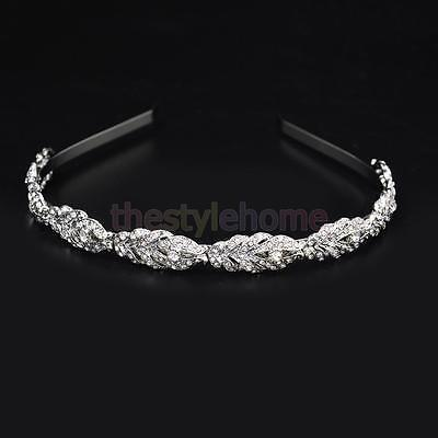 Wedding Party Bridal Bridesmaid Crystal Headband Leaf Hair Band Headpiece