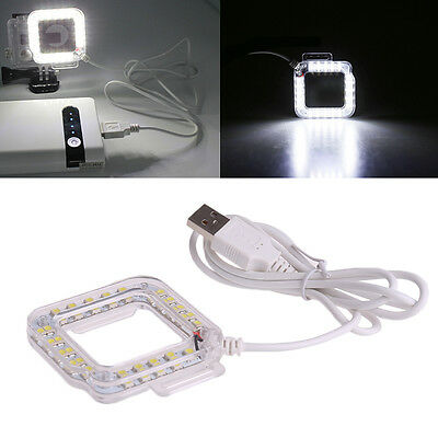 External USB Lens Ring 20LED Flash Light Shooting For GoPro Hero 3 Hero 4 Camera