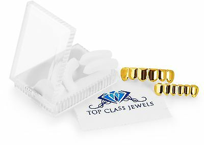 24K Gold Plated Grillz for Mouth Top Bottom Hip Hop Teeth FREE SHIPPING