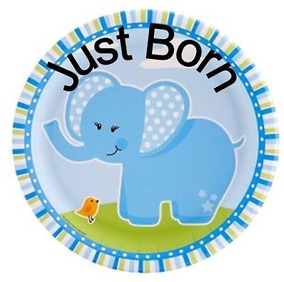 Set Of 12 Month Baby Milestones 60Mm Blue Elephant Stickers