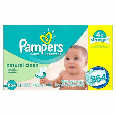 Pampers Baby Wipes Natural Clean 12X Refill 864 count FREE SHIPPING (BRAND NEW)