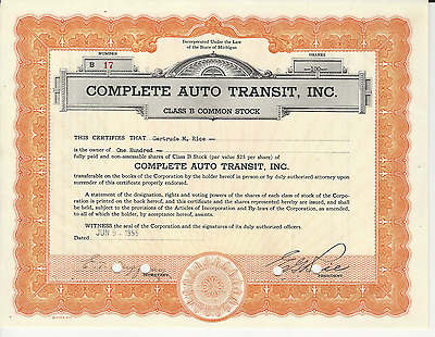 1955 Complete Auto Transit Stock Certificate Michigan Rice - Pays Cancer Bills