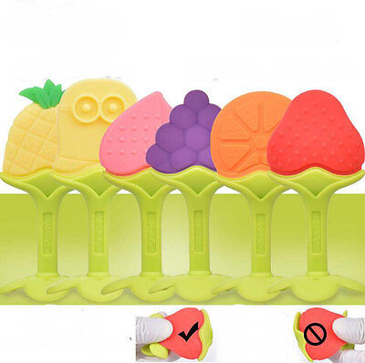 Soft Silicon Teether Fruit Teething Toys Set for Baby, 3-Pack in Assorted Colors