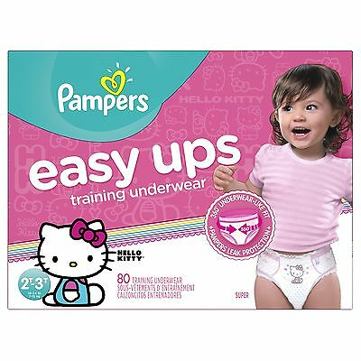 Pampers Easy ups training underwear girls size 4 2t-3t 80 count FREE SHIPPING