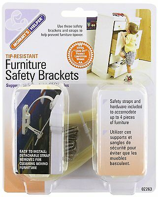 Mommy's Helper Tip-Resistant Furniture Safety Brackets, Ivory, 8-Pack (NEW)