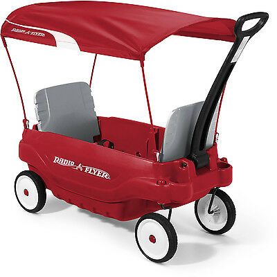 Family Canopy Wagon Radio Flyer Wheels Travel Cart Folding Kids Outdoor Red New