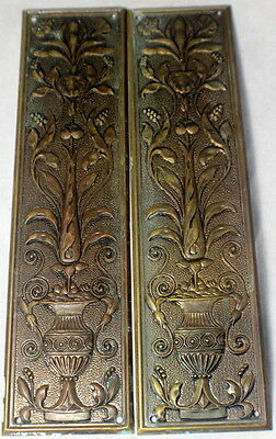 Pair of Matching Art Nouveau Brass Door Push Plate 1910s