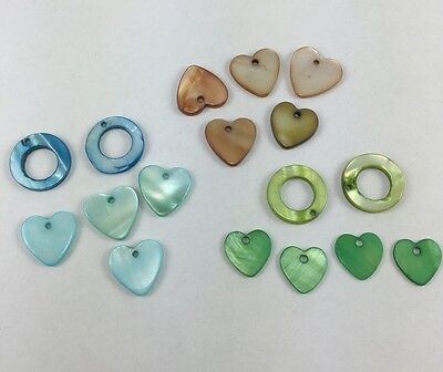 17 pieces assorted shape mix blue/green/brown Mother of Pearl top-drilled beads