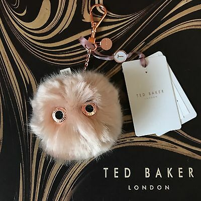 Genuine TED BAKER LOLAA Fluffy Character Keyring Bag Charm Pale Pink NEW