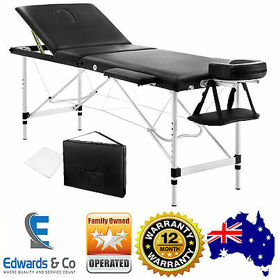 Portable Aluminium Massage Table Bed 3 Fold Therapy Waxing 60cm Beauty Black New