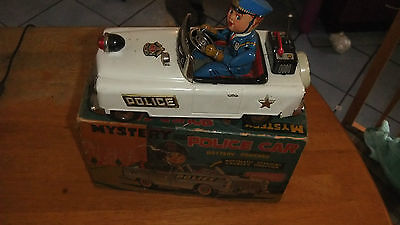 Vintage1960's Tin Mystery Police Car  Battery Operated made in japan with box